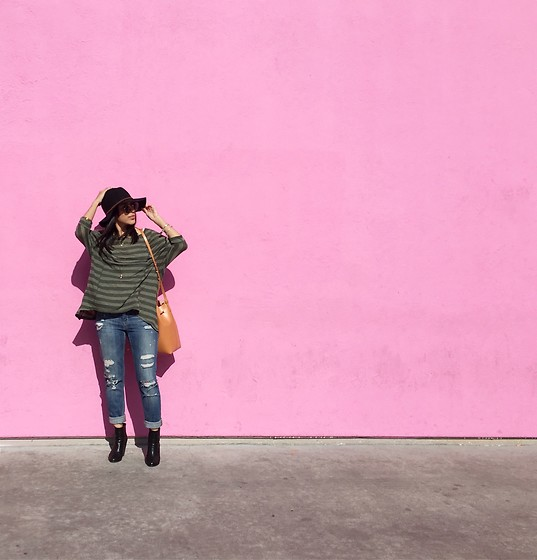 Tiffany - Joe's Jeans Distressed, Nordstrom Hat - The Pink Wall