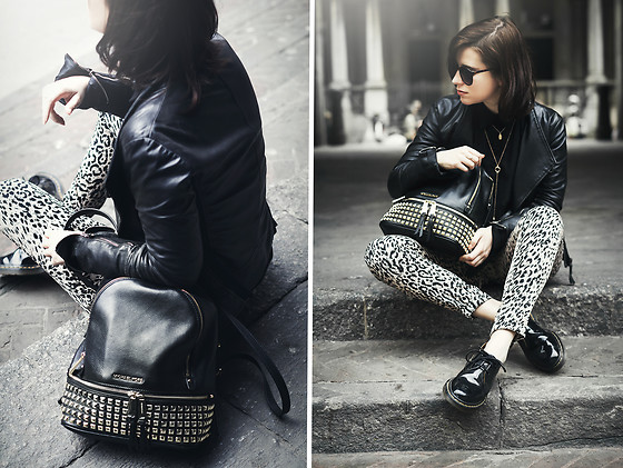 Eleonora Pellini - Michael Kors Stud Black Backpack, Pinko Black Leather Jacket, Zerouv Sunglasses, Dr. Martens Oxford Shoes - My Backpack is Cool