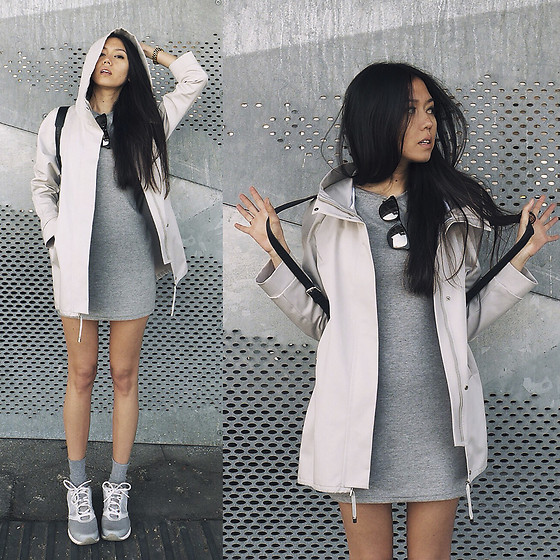Aliya A - Somemoment Jacket, Somemoment Dress, Nike Sneakers - Grey Street