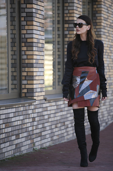 Iris . - Rodarte X & Other Stories Skirt, Vetements Sweater - RODARTE PATCHWORK SKIRT