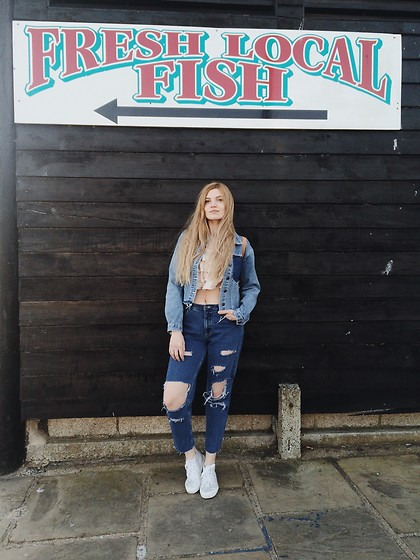 Carla V - Vintage Reworked Jeans, New Look Satin Top, Vintage Reworked Jacket, Superga Trainers - Hello mermaids
