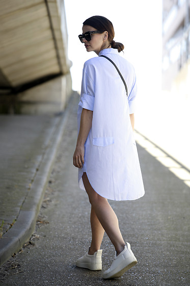 Iris . - Acne Studios Dress, Celine Sneakers, Celine Sunglasses - PINSTRIPED SHIRTDRESS