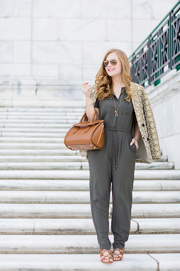 Ashley Hutchinson - Forever 21 Army Jumpsuit, Alexander Mcqueen Heroine Bag, Forever 21 Tan Suede Lace Up Wedges, Suno Green Brocade Blazer, Ray Ban Gold Aviators - Khaki Jumpsuit