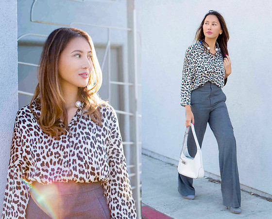 The Ambitionista - Zara Leopard Top, Zara Cool Grey Trousers - Leopard Print