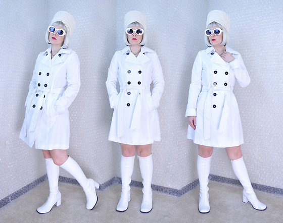 Suzi West - Jonquil Original 1960s Vintage Turban Hat, Mypartyshirt.Com Kurt Cobain Sunglasses, Express Trench Coat, Funtasma Go Go Boots - 01 May 2016