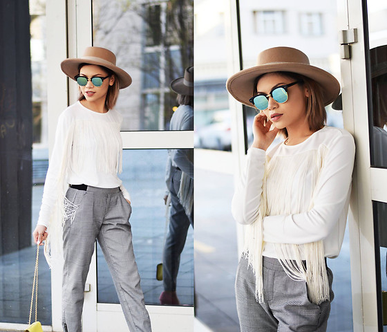 SuSu Do - Asos Hat, Boohoo Sunglasses, Oh My Love Fringe Top, Tally Weijl Trousers - Fringe Fringe