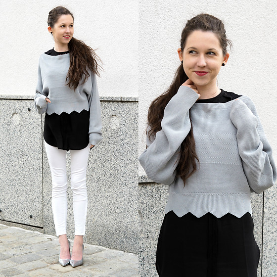 Claire H - H&M Crop Sweater, H&M Black Long Sleeve Less Blouse, Högl Silver Heels - ... be happy ...