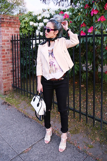 Aika Y - Polette Cat Eye Sunglasses, Zara Baby Pink Faux Leather Jacket, Urban Outfitters Black Bandana, Forever 21 Graphic T Shirt, Shop Sincerely Jules Ripped Skinny Jeans, Zara Black And White Mini Bag, Aldo Studded Sandals - Casual À La Mode