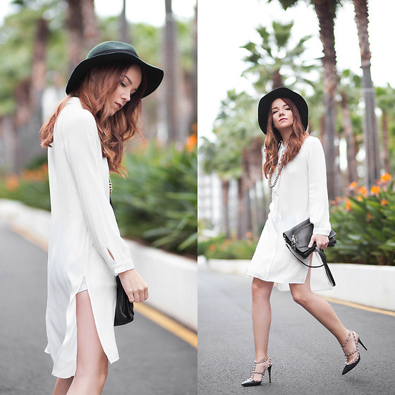 Silver Girl - Valentino Rock Stud Heels, Zara Green Fedora, Massimo Dutti Leather Shoulder Bag, Zara White Shirt Dress, Rock N' Rose Golden Headchain - PALM SPRINGS