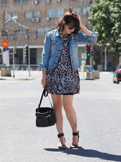Fashionella ♥ - Topshop Printed Dress, Michael Kors Strap Sandals, Asos Bag - Denim Jacket