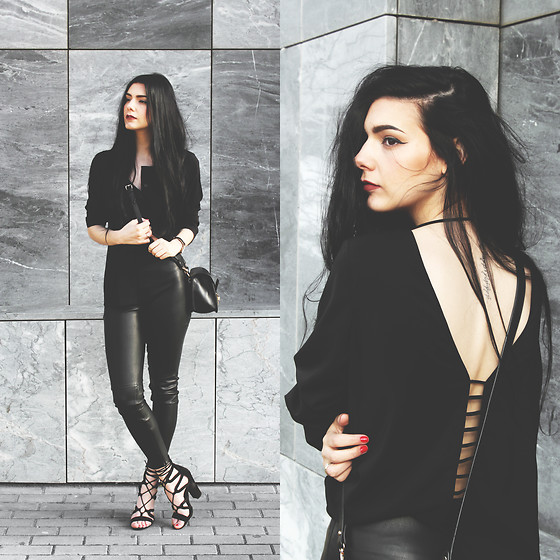 CLAUDIA Holynights - Sheinside Cutout Shirt, Sheinside Faux Leather Pants, Lulu*S Shoes - Cutout back shirt
