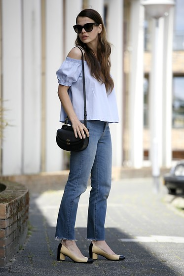 Iris . - Chanel Heels, Levi's Jeans, Chloé Bag, Celine Sunglasses - DENIM, OFFSHOULDER & CHANEL