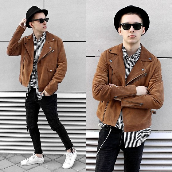 StreetFashion101 - Asos Suede Jacket, H&M Striped Shirt, Zara Jeans, Springfield Sneakers - Mad Hatter