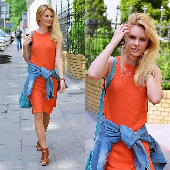 Kamila Libelula - New Yorker Dress, Style Moi Jacket, Promod Bag, Timberland Shoues - Orange