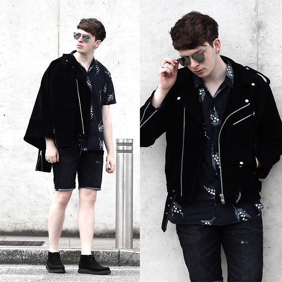 Joel Mcloughlin - Urban Outfitters Black Suede Biker Jacket, Allsaints Revere Collar Shirt - Motivation