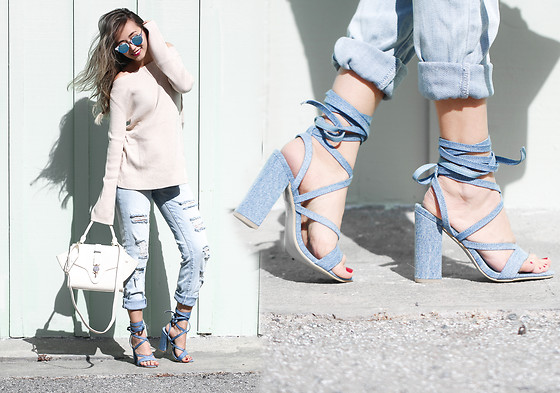 Queen Horsfall - Maxmara Similar, Ny&Co, Public Desire, Queenhorsfall - Denim Sandals