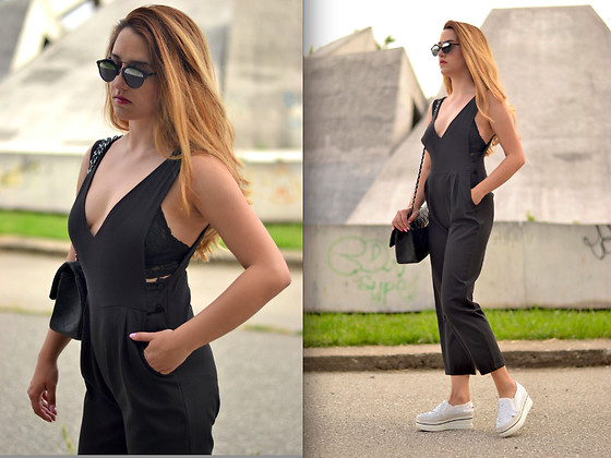 Martina Manolcheva - Romwe Romper, H&M Bra - The Black Romper