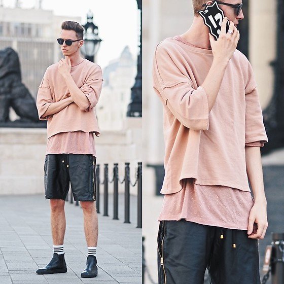 Chaby H. - Zara Peach T Shirt, Leather Short, Hudson Leather Sneakers, Candiesgifts Iphone Case - Peach & Black
