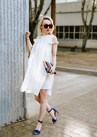 Jessica Luxe - Super Sunglasses, White Dress, Celine Pouch, Joie Heels - The Little White Dress