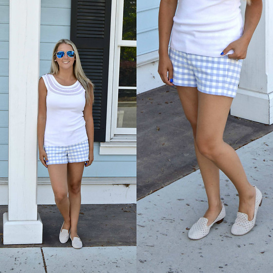 Jennifer Therese - J. Crew Gingham Shorts, White House Black Market Sweater Tank - Gingham Pastel Blue Shorts.