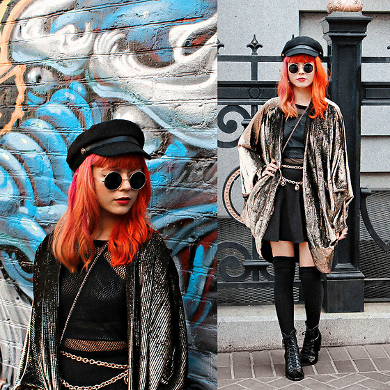 KENDALL SANCHÈZ - Newsboy Cap, Round Sunglasses, Vintage Gold Shawl, Fishnet Shirt, Faux Leather Crop Top, Circle Skirt, Lace Up Ankle Boots, It's Kendall Kay Style Blog, Visit Me On Instagram - .San Francisco.