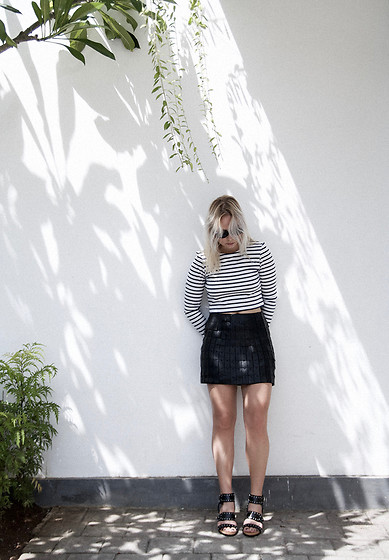 Sophia Molen -  - Leather Patched Skirt & Striped Shirt