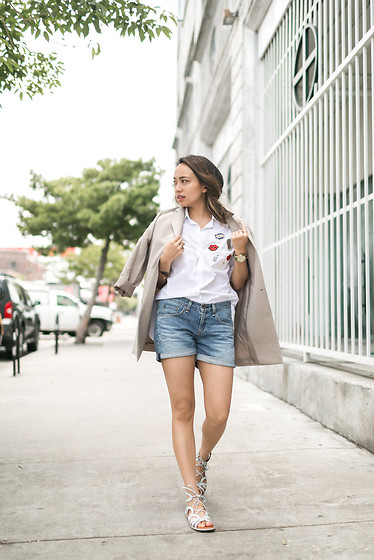 Courtney Y - Pomelo Oversized Blazer, Zara Patch Shirt, Rag And Bone Boyfriend Shorts, Gentle Souls White Sandals - Patched Up