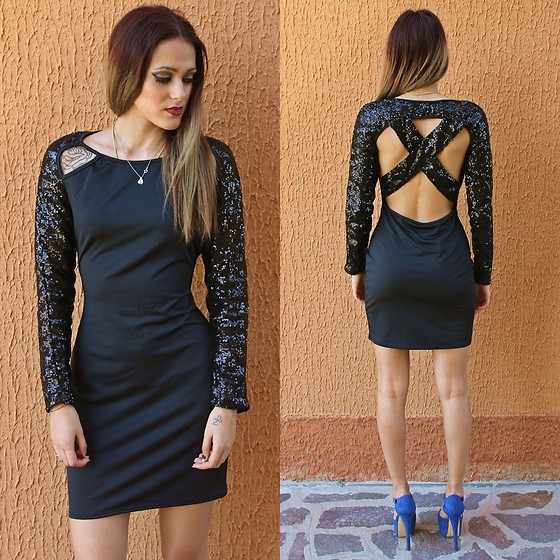 Karen Cepeda - Crossed Paillettes Black Dress - Crossed Paillettes Black Dress
