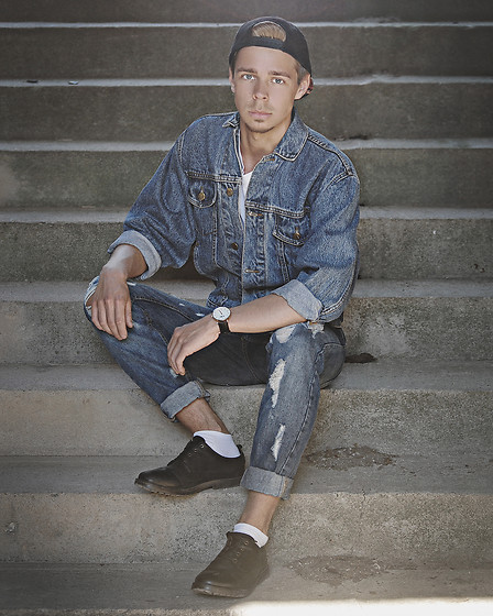 Edgar - Denim Jacket, Distressed Denim Jeans, Pull & Bear Black Leather Shoes, Aeon Black Leather Watch, Primark Black Cap, H&M White Tee - ALL DENIM // See More In Description