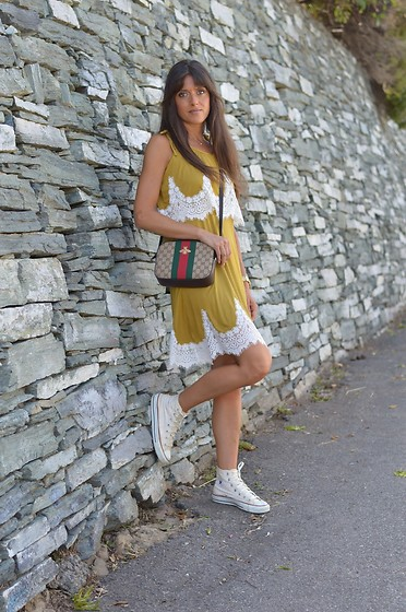 Jeanne -  - Green-Yellow Lace Summer Dress