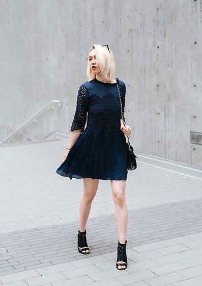 Jessica Luxe - Navy Dress, Mini Bag, Black Heels - Lace & Silk Combo
