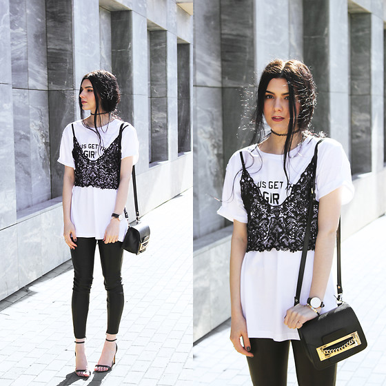 CLAUDIA Holynights - Jesus Gets The Girl Tee, Sheinside Leather Pants, Daniel Wellington Watch - Oversized tee and lace top