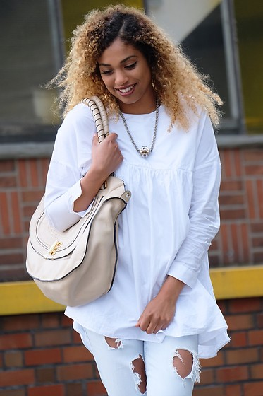 Curls all over - Zara Blouse Dress, Chloé Marcie Bag, Zara Ripped Jeans - Off to new goals.
