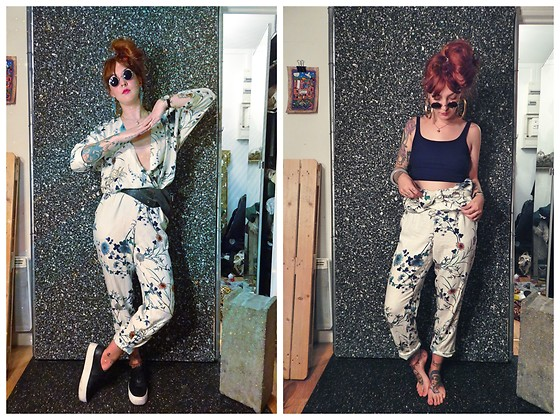 Anna Hurricane - Mango Jumpsuit, H&M Black Leather Shoes, Topshop Sunglasses, Forever 21 Black Top, Forever 21 Earrings - Flowers and leather