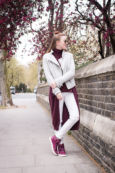 Jasmin A - Next Jacket, Ysl Sneakers, Vila Cardigan, Vila Jeans - Grey ambition