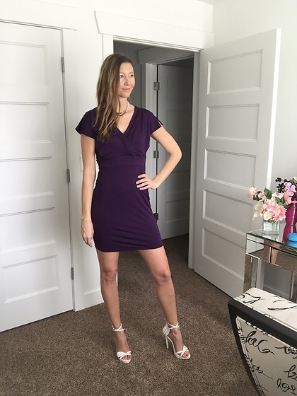 Cindy Batchelor - Amazon Purple Mini With V Back Detail - Pretty Purple Sleeve Mini Dress with cute V back