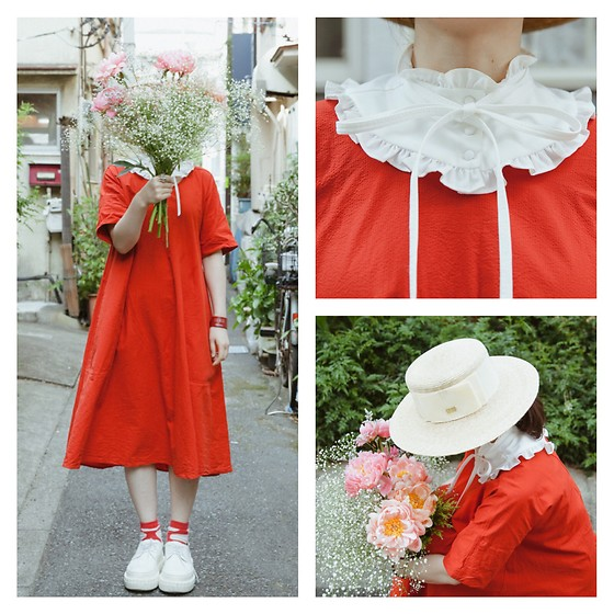 Shan Shan - Uniqlo X Lemaire Dress, Ca4la Hat - Behind the flowers