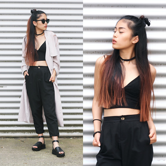 Mimi H. - Zero Uv Sunglasses, Zara Black Crop Top, Decao Chilly Pants, Urban Outfitters Rose Trenchcoat, Vagabond Sandals - JUNE HUSTLIN'