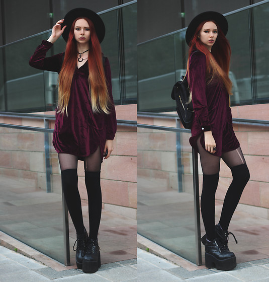 Liza LaBoheme - Burgundy Velvet Shirt Dress, Black Backpack, Demonia Platforms - Summer wine