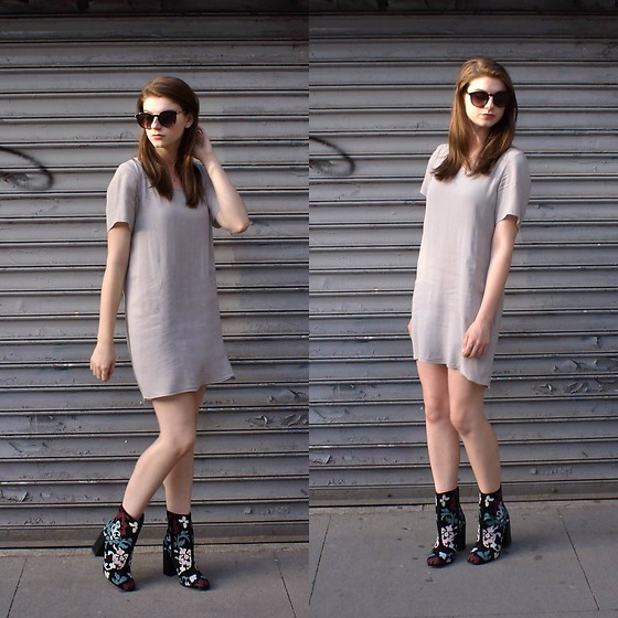 Tracie Marie - Rebecca Minkoff Boots, Aritzia Grey Shirt Dress - Me, Myself, and I