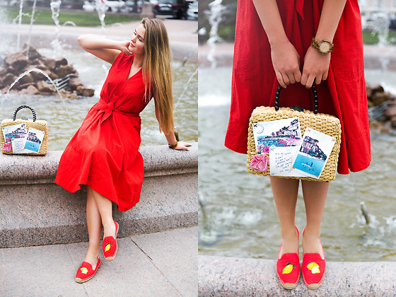 Natalia Romashko - Uniqlo And Lemaire Dress, Soludos Espadrilles, Miss Sixty Bag, Jord Wood Watches - RED