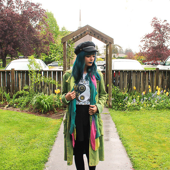 KENDALL SANCHÈZ - Newsboy Cap, Peace Sign T Shirt, Rainbow Scarf (Similar), Thrift Corduroy Jacket, Black Circle Skirt, Textured Tights, It's Kendall Kay Style Blog, Visit Me On Instagram - Travel Diary: Everett, WA