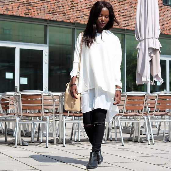 Emma Brown - Street One Oversize Shirt, Asos Shitt, Zara Bucket Bag - LAYERING