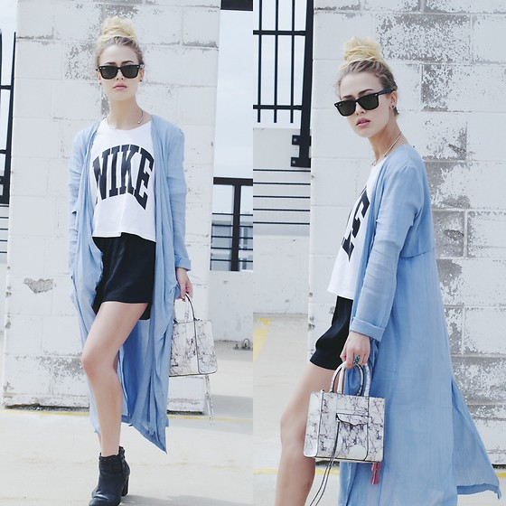 Julia Weber - Nike Crop Top, Target Satin Shorts, The Coverii Duster, Ray Ban Shades, Rebecca Minkoff Handbag, Dolce Vita Ankle Boots - Just Do It