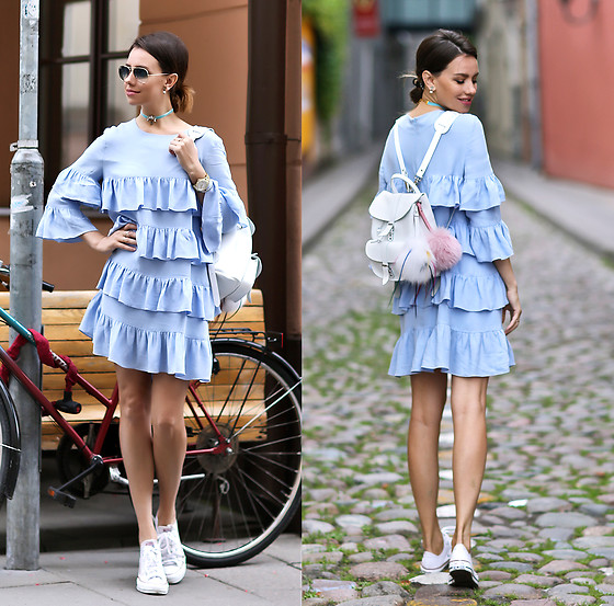 Perventina Ols - Dress, Grafea Bag - Blue and a little bit of white