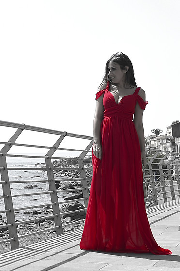 ManueLita - Sheinside Long Dress - She In wine red