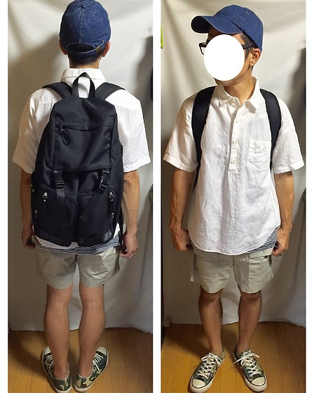 Keysyu Takagi - Newhattan Cap, Globalwork Shirt, Globalwork Backpack, Uniqloxmb Tank Top, Uniqloxmb Shorts, Converse Shoes - Tomorrow outfit
