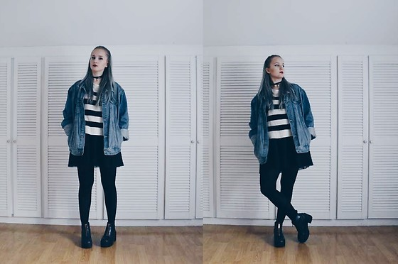 Agnieszka Warcaba - Second Hand Jacket, H&M Sweater, House Skirt, H&M Boots, 1#Diy Choker - Grunge outfit