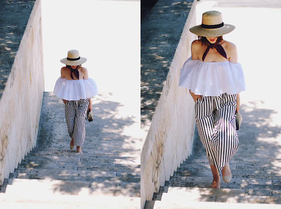 Andreea Birsan - H&M Straw Hat, Silk French Knot Scarf, Sammydress White Off Shoulder Top, Christian Dior So Real Sunglasses, Zara Striped Culottes, Furla Piper S Crossbody Bag, Zara Beige Suede Pumps - Off shoulder top: summer trend alert