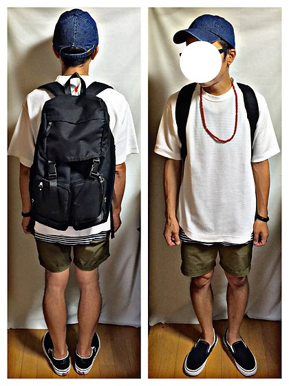Keysyu Takagi - Newhattan Cap, Globalwork T Shirt, Globalwork Tank Top, H&M Shorts, Vans Shoes, Globalwork Backpack - Tomorrow outfit